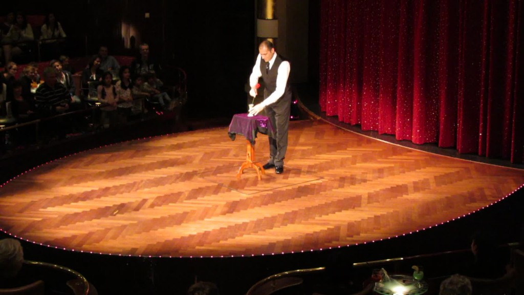 Magician performing on cruise ship